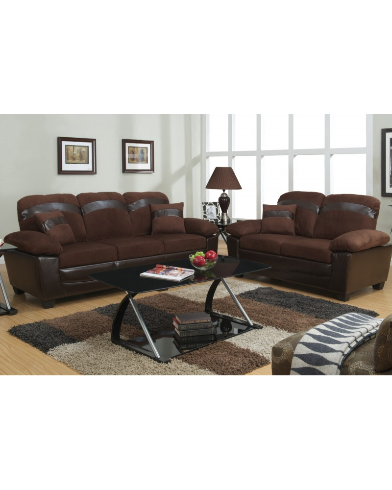 Chocolate Sofa and Love Seat with Storage