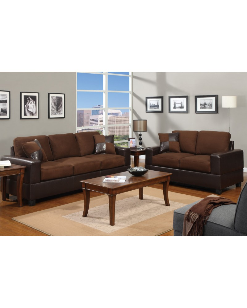Chocolate Brown Sofa and Loveseat Combination