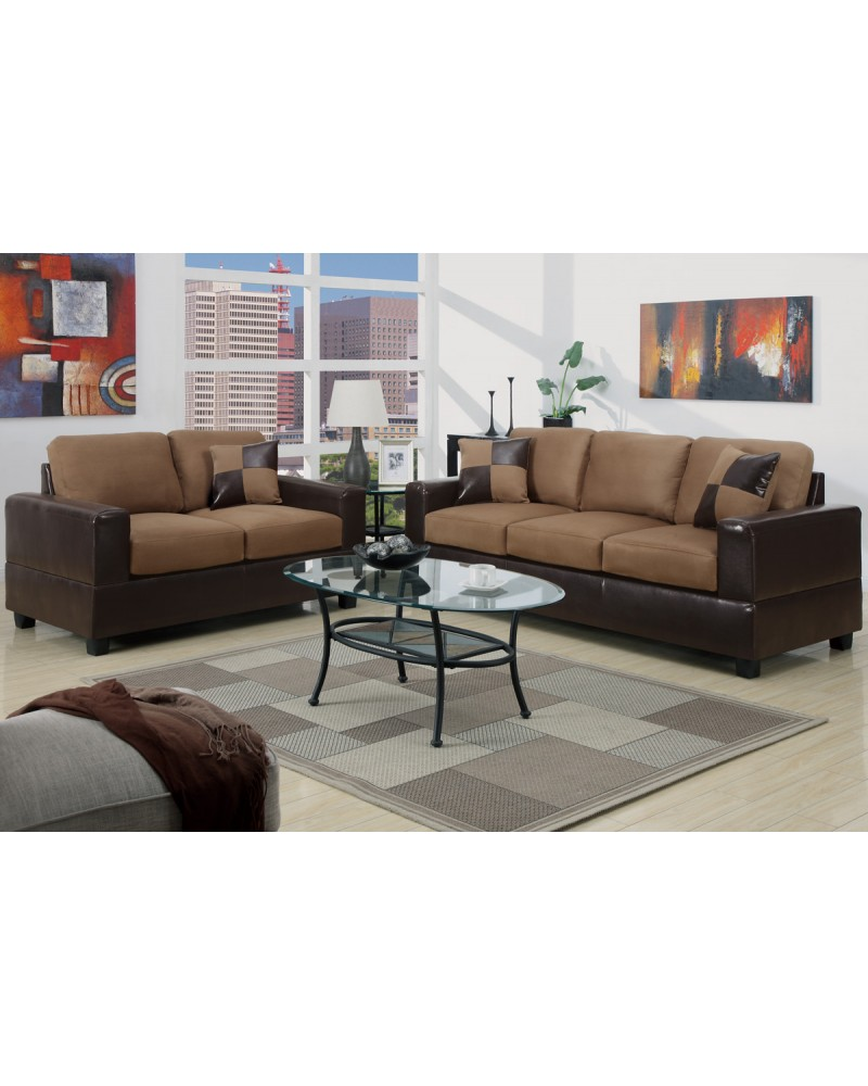 Saddle Tan Sofa and Loveseat Combination