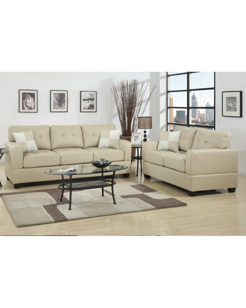 Khaki Bonded Leather Sofa and Love Seat
