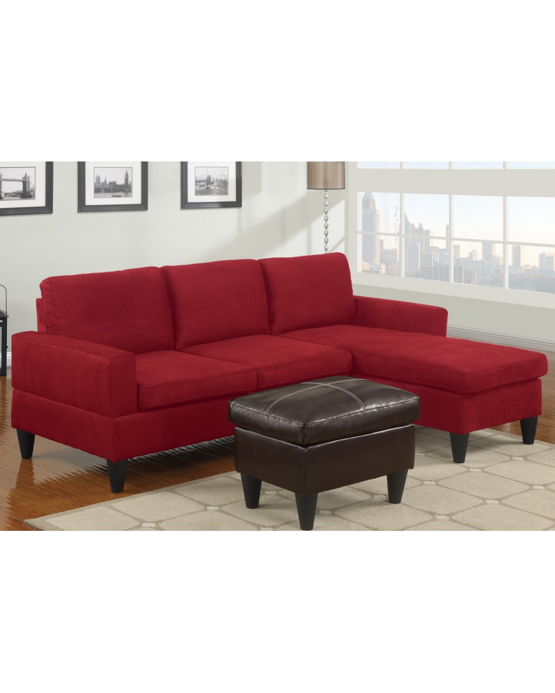 All-In-One Microfiber Sectional Sofa with Ottoman - Red