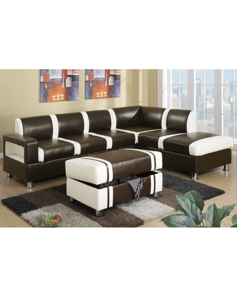 Ultra Modern Two Tone Faux Leather Sectional Sofa with Ottoman - Espresso/Cream