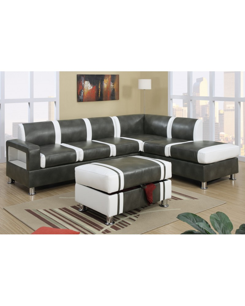 Ultra Modern Two Tone Faux Leather Sectional Sofa with Ottoman - Gray/Cream