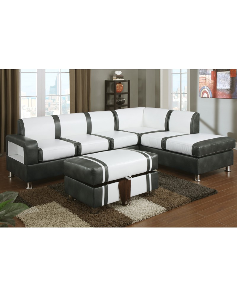 Ultra Modern Two Tone Faux Leather Sectional Sofa with Ottoman - Cream/Gray
