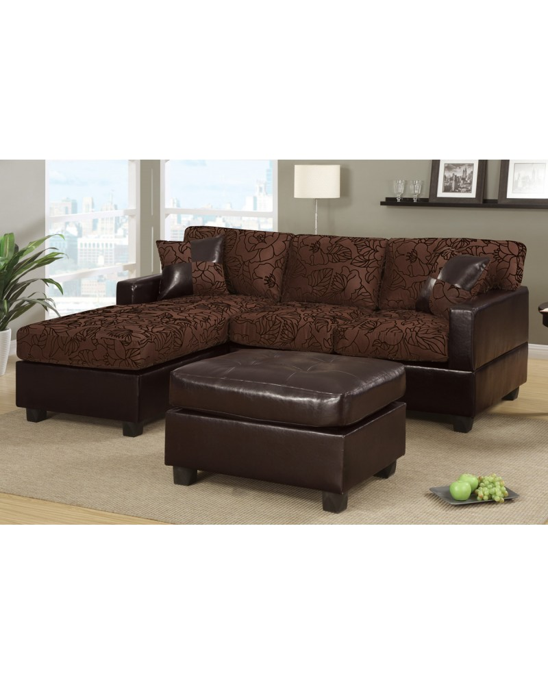 All-In-One Floral Print Sectional Sofa with Ottoman - Chocolate