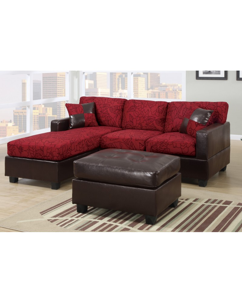 All In One Floral Print Sectional Sofa With Ottoman   Red