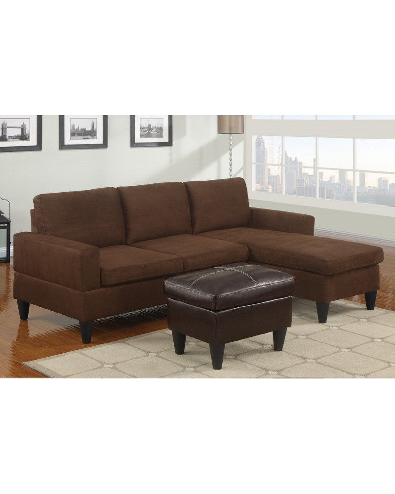 Chocolate Sectional Set with Ottoman - F7281