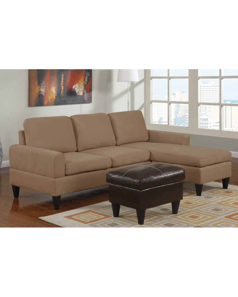 All-In-One Microfiber Sectional Sofa with Ottoman - Saddle Tan