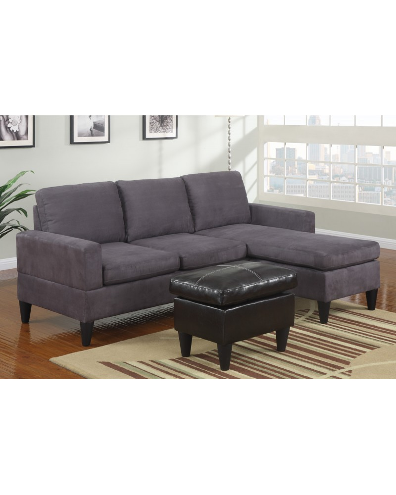 All-In-One Microfiber Sectional Sofa with Ottoman - Gray