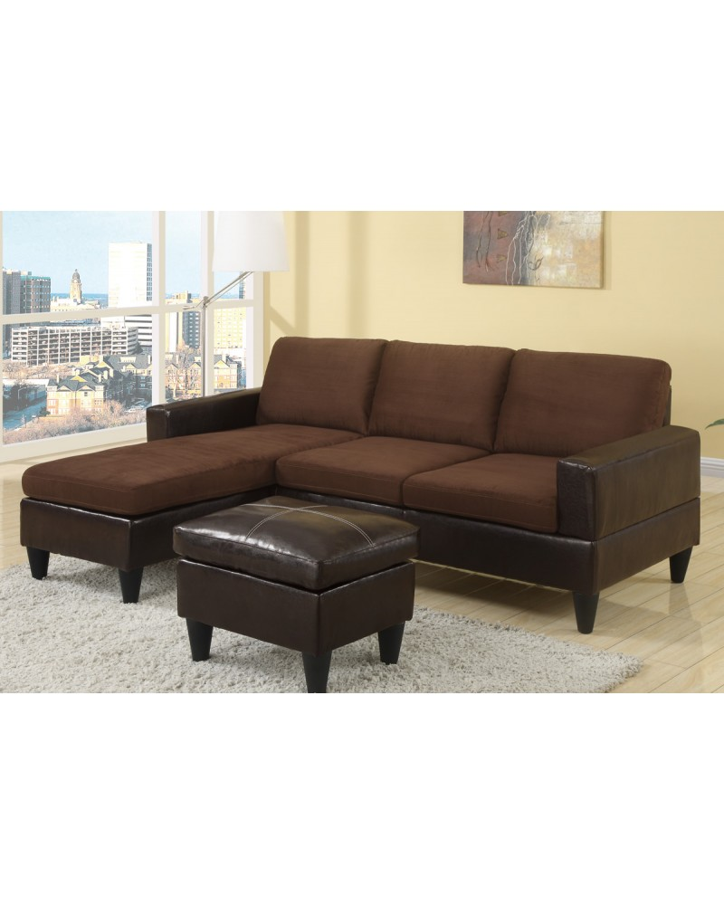 All-In-One Faux Leather and Microfiber Sectional Sofa with Ottoman - Chocolate