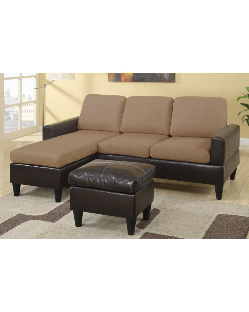 All-In-One Faux Leather and Microfiber Sectional Sofa with Ottoman - Saddle Tan