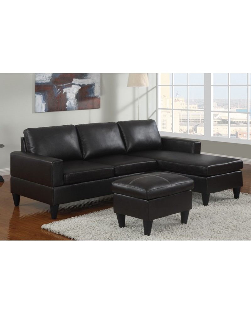 All-In-One Faux Leather Sectional Sofa with Ottoman - Black