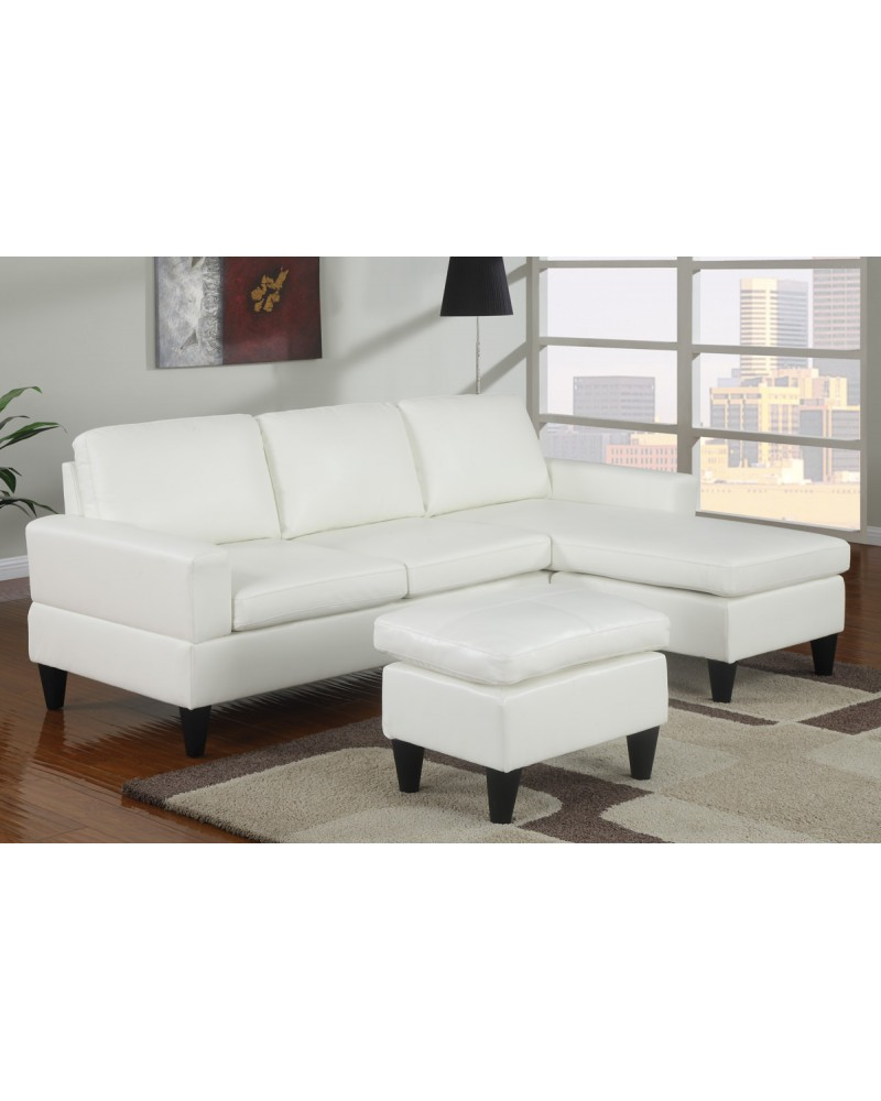 All-In-One Faux Leather Sectional Sofa with Ottoman - Cream