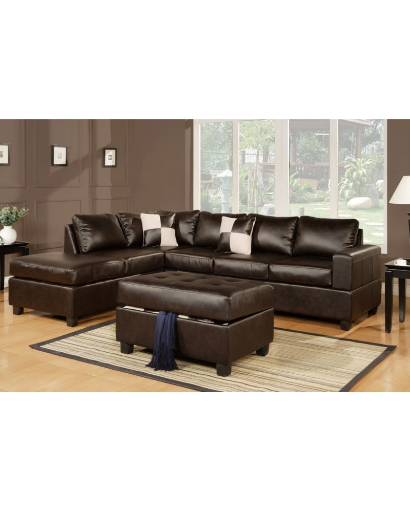 3 Piece Bonded Leather Sectional - F7351