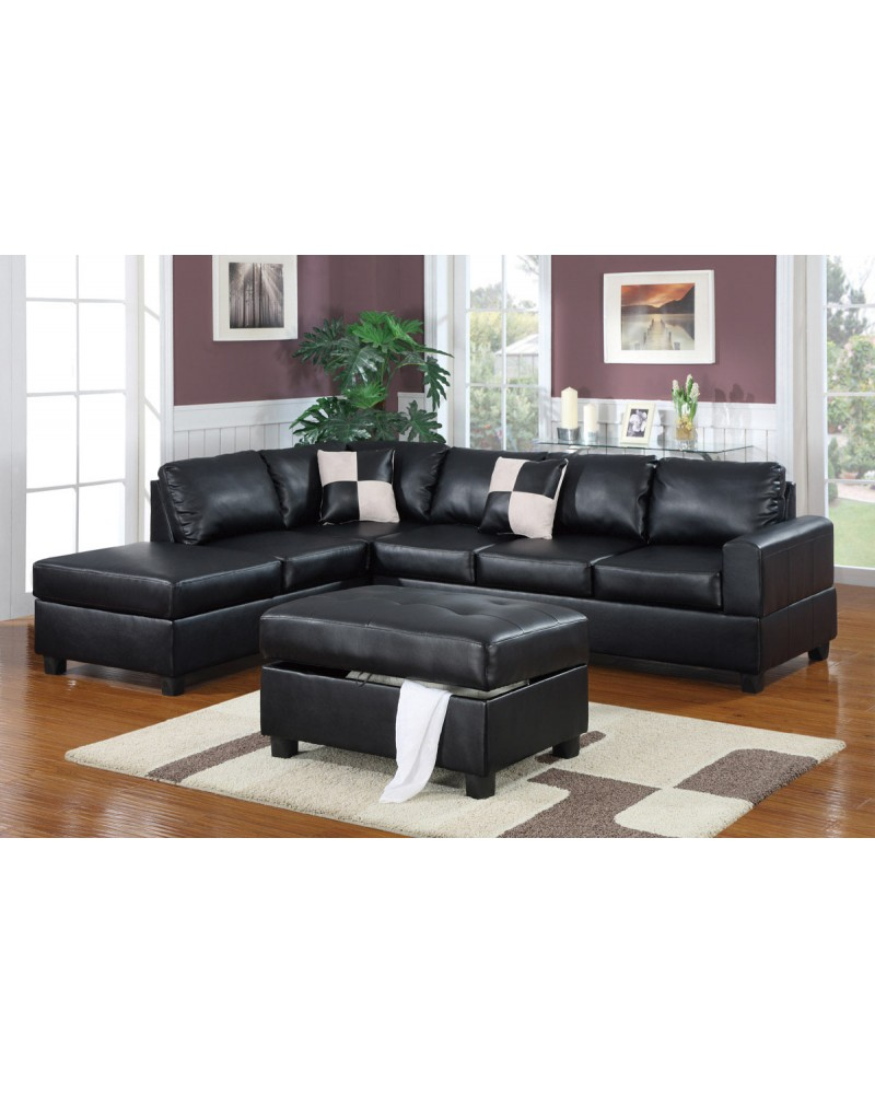 Black Bonded Leather Sectional Sofa Set