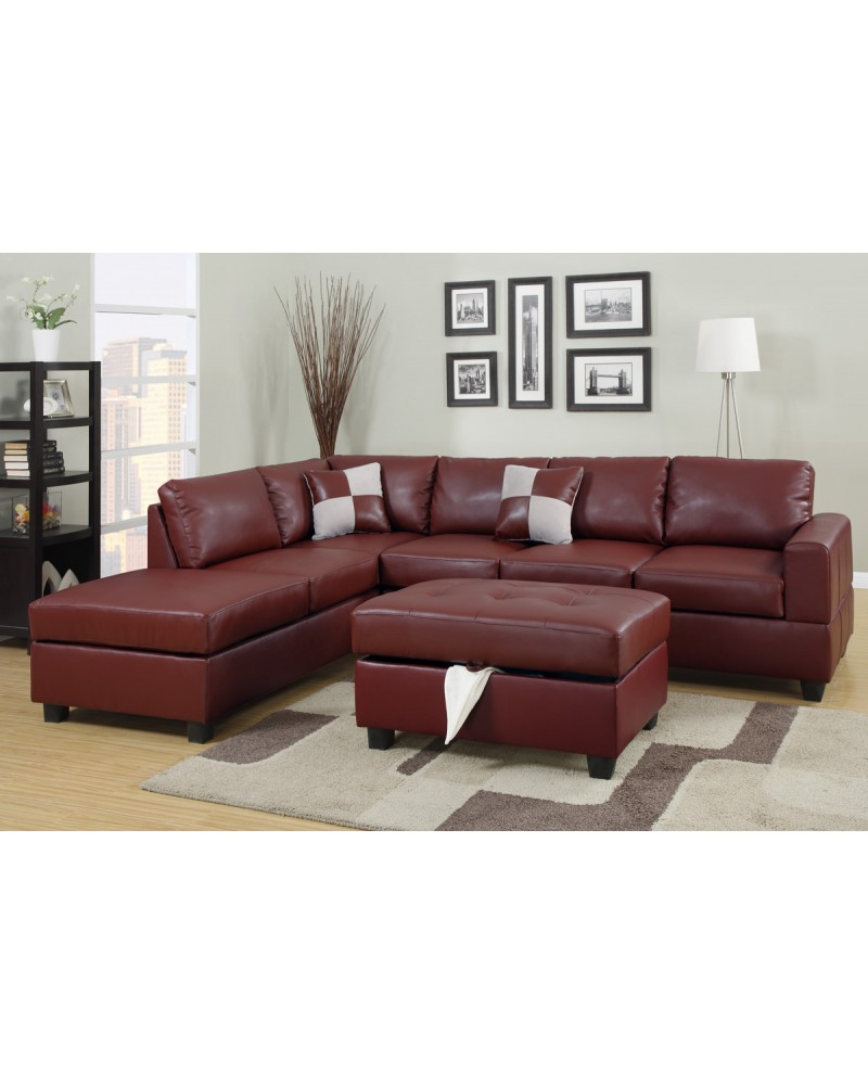 Burgundy Bonded Leather Sectional Sofa Set