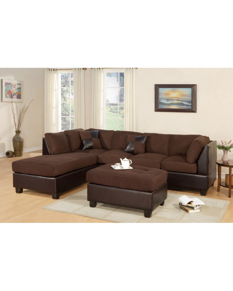 3 Piece Sectional Sofa and Ottoman - Two Tone Microfiber, Chocolate