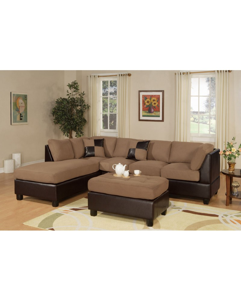 3-Piece Sectional Sofa and Ottoman - Two Tone Microfiber, Saddle