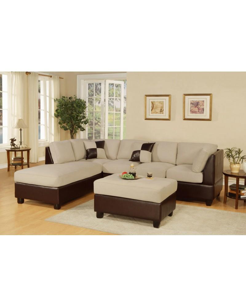 3-Piece Sectional Sofa and Ottoman - Two Tone Microfiber, Mushroom
