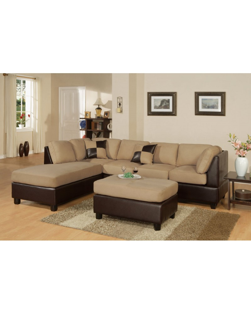 3-Piece Sectional Sofa and Ottoman - Two Tone Microfiber, Hazelnut