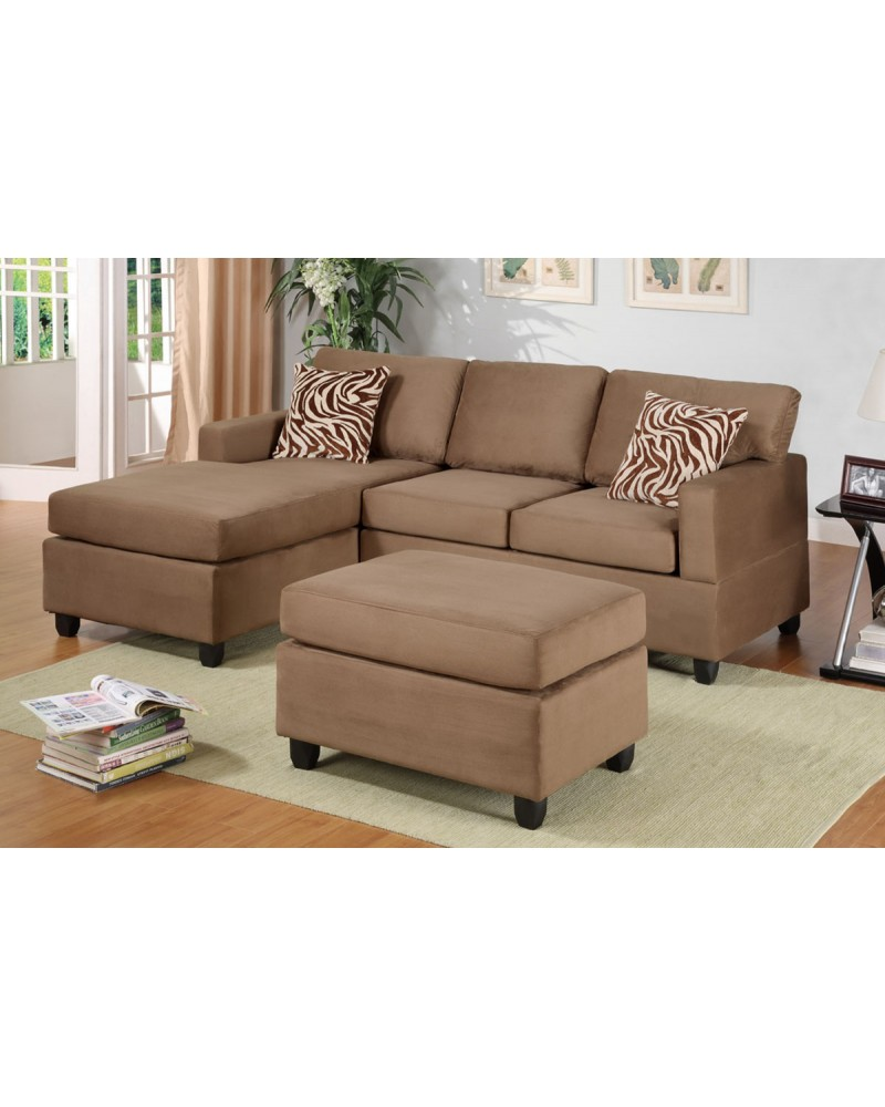All-In-One Microfiber Plush Sectional Sofa with Ottoman - Saddle Tan