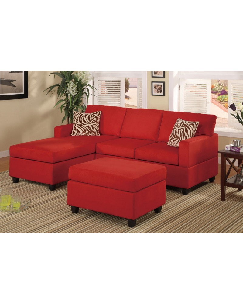 All-In-One Microfiber Plush Sectional Sofa with Ottoman - Red