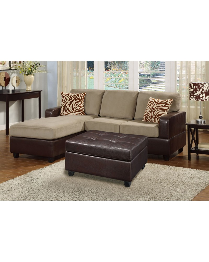 All-In-One Microfiber Plush Sectional Sofa with Ottoman - Pebble