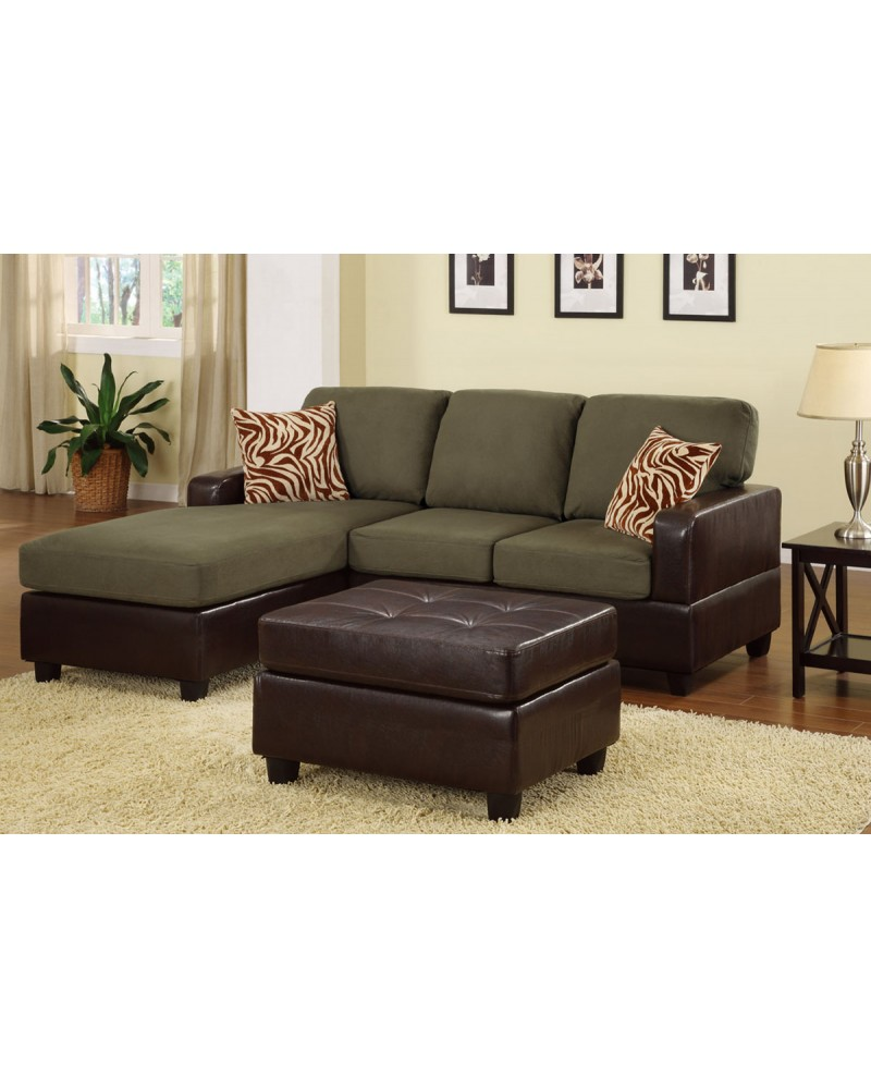 All-In-One Microfiber Plush Sectional Sofa with Ottoman - Sage