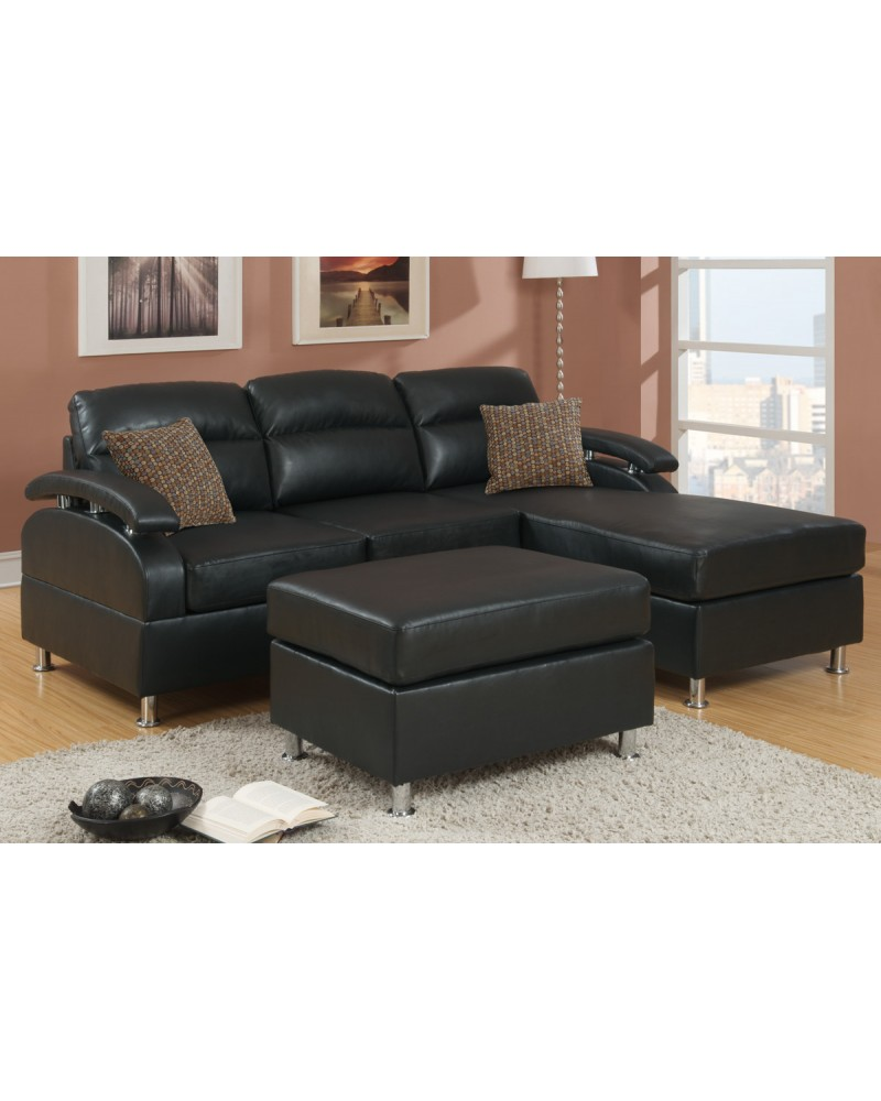 Black Bonded Leather Sectional Sofa with Ottoman - F7685