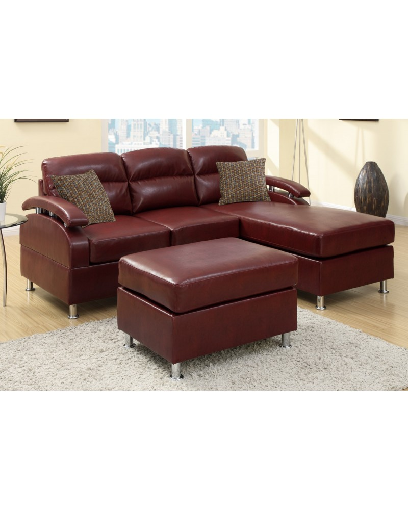 All-In-One Modern Bonded Leather Sectional Sofa with Ottoman - Burgundy