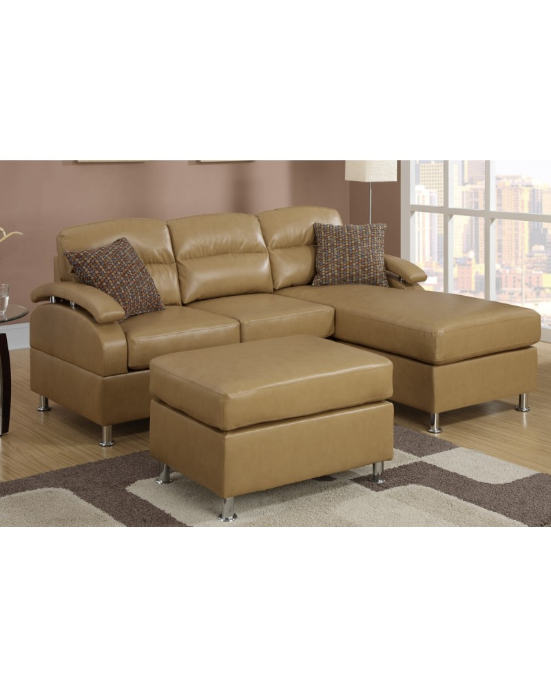 All-In-One Modern Bonded Leather Sectional Sofa with Ottoman - Tan