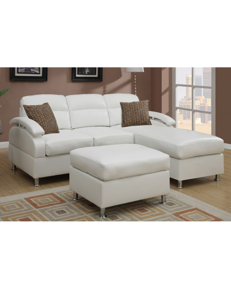 All-In-One Modern Bonded Leather Sectional Sofa with Ottoman - Cream