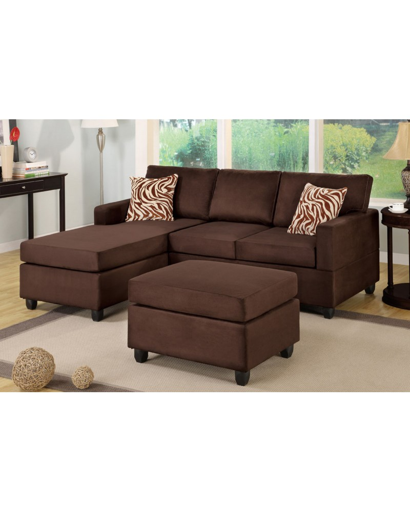 All-In-One Microfiber Plush Sectional Sofa with Ottoman - Chocolate Brown