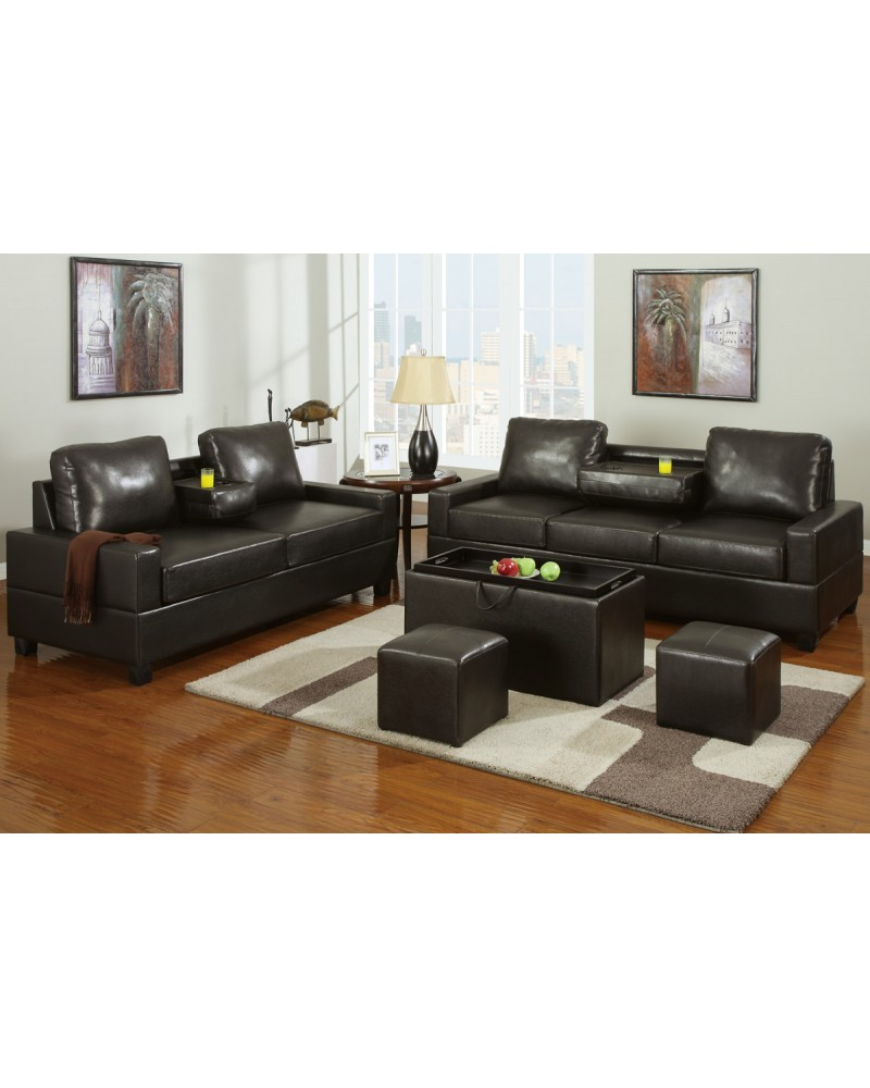 Leather Console Sofa and Loveseat