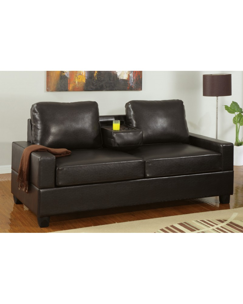 Leather Console Loveseat