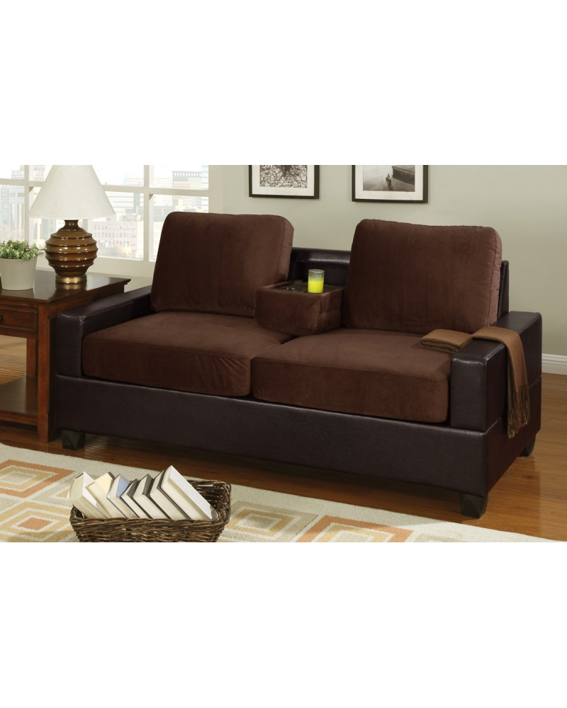 2 Tone Chocolate Loveseat with Console