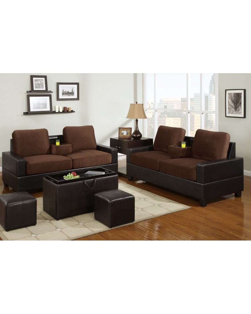 2 Tone Chocolate Loveseat and Sofa with Console