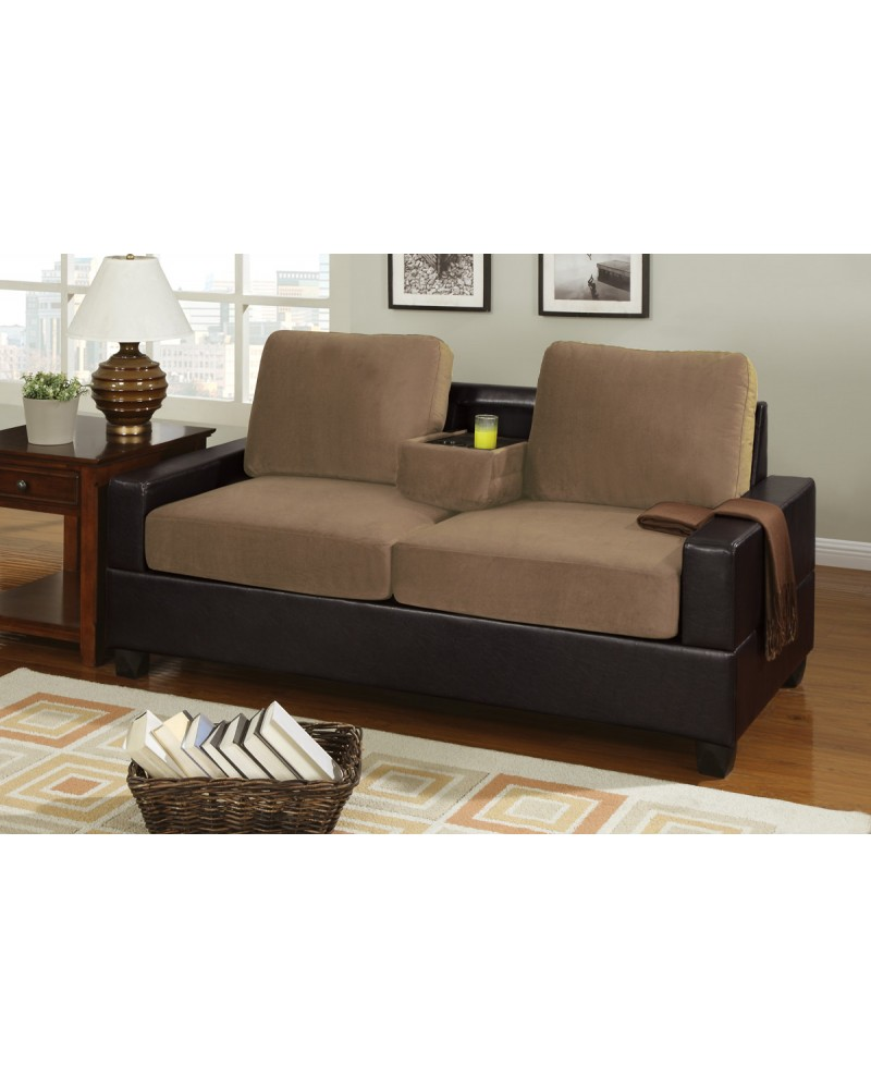 2 Tone Saddle Tan Loveseat with Console