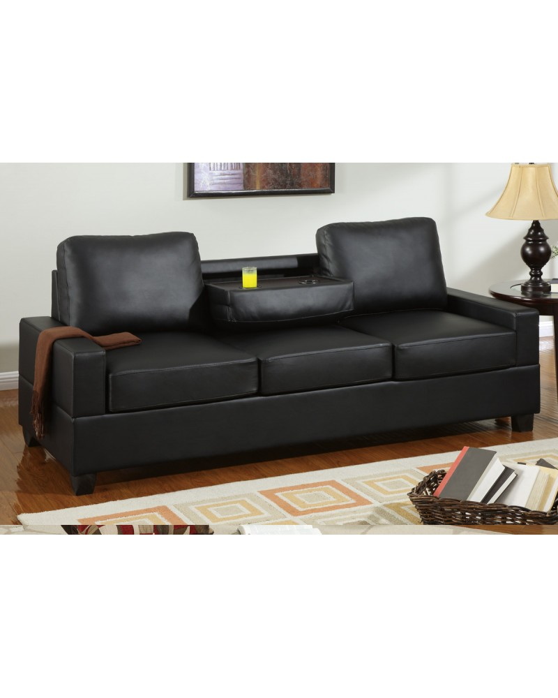Black Leather Sofa with Console