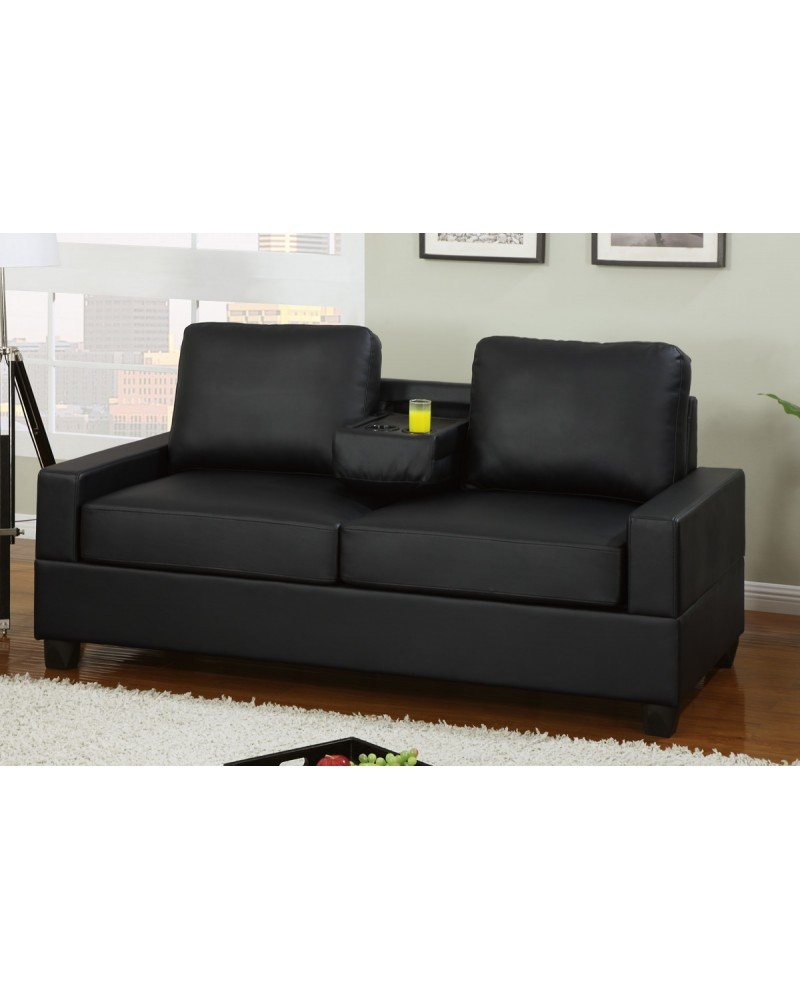 Black Leather Loveseat with Console