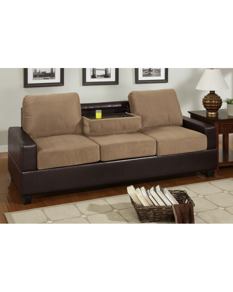 2 Tone Saddle Tan Sofa with Console