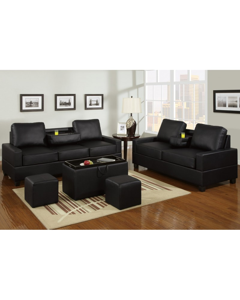 Black Leather Loveseat and Sofa with Console
