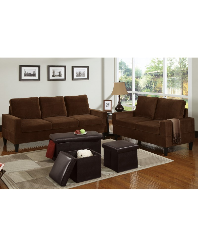 5 Piece Chocoate Microfiber Living Room Set