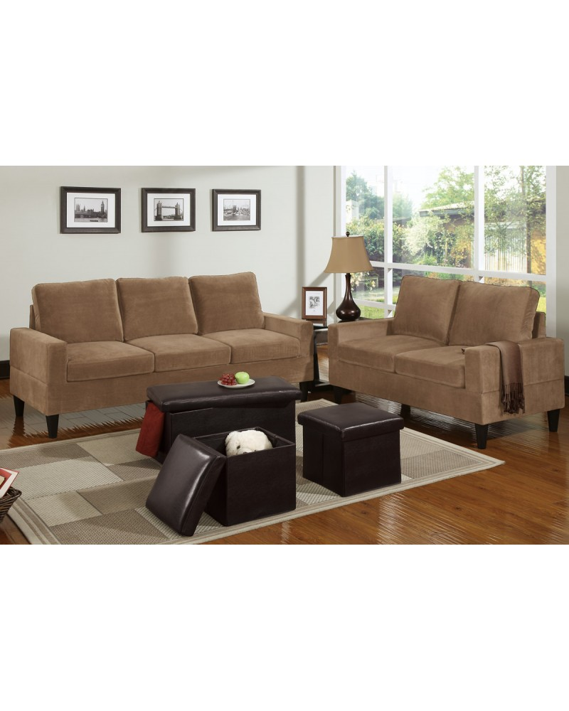 5 Piece Saddle Tan Microfiber Living Room Set
