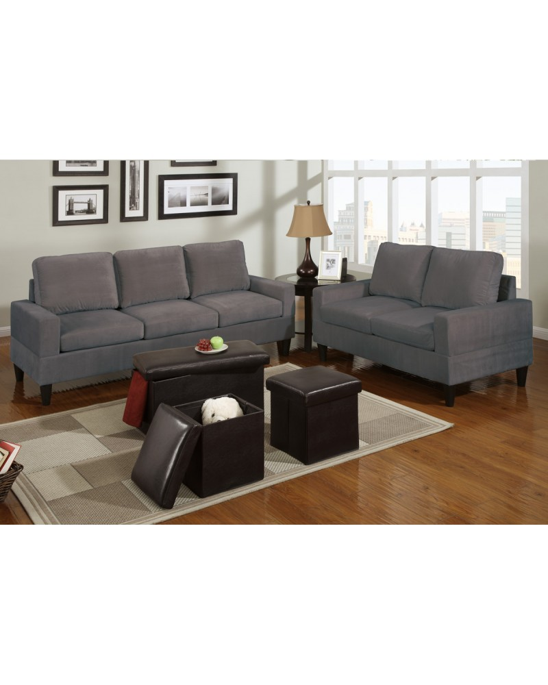 5 Piece Grey Microfiber Living Room Set