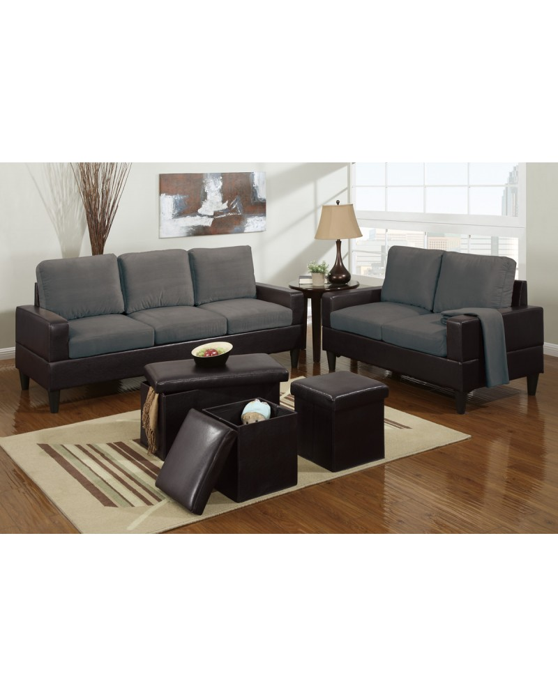 5 Piece Two Tone Grey Microfiber Living Room Set