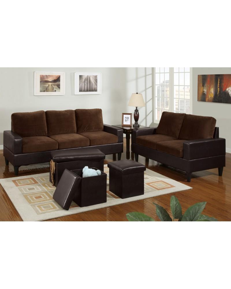 5 Piece Two Tone Chocolate Microfiber Living Room Set