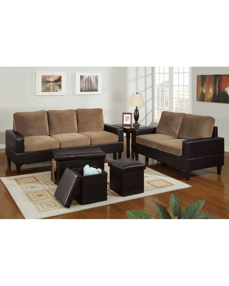 5 Piece Two Tone Saddle Tan Microfiber Living Room Set