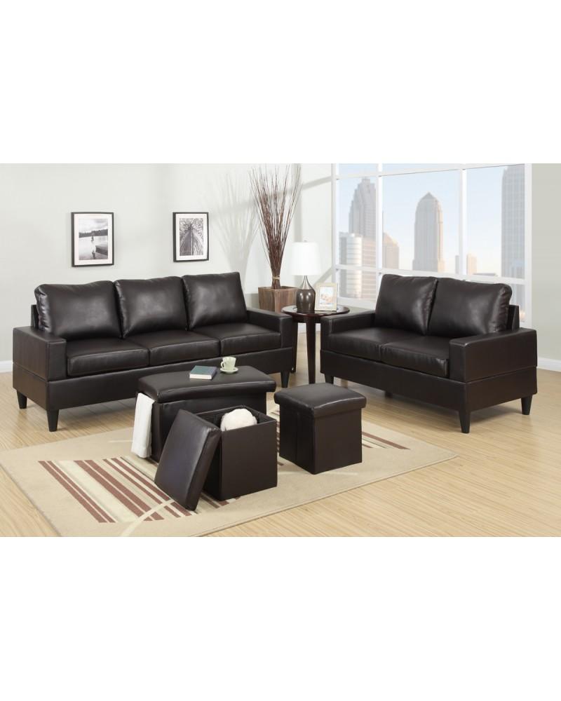 Bob kona 5 piece livingroom set in dark brown leather for 5 piece living room set