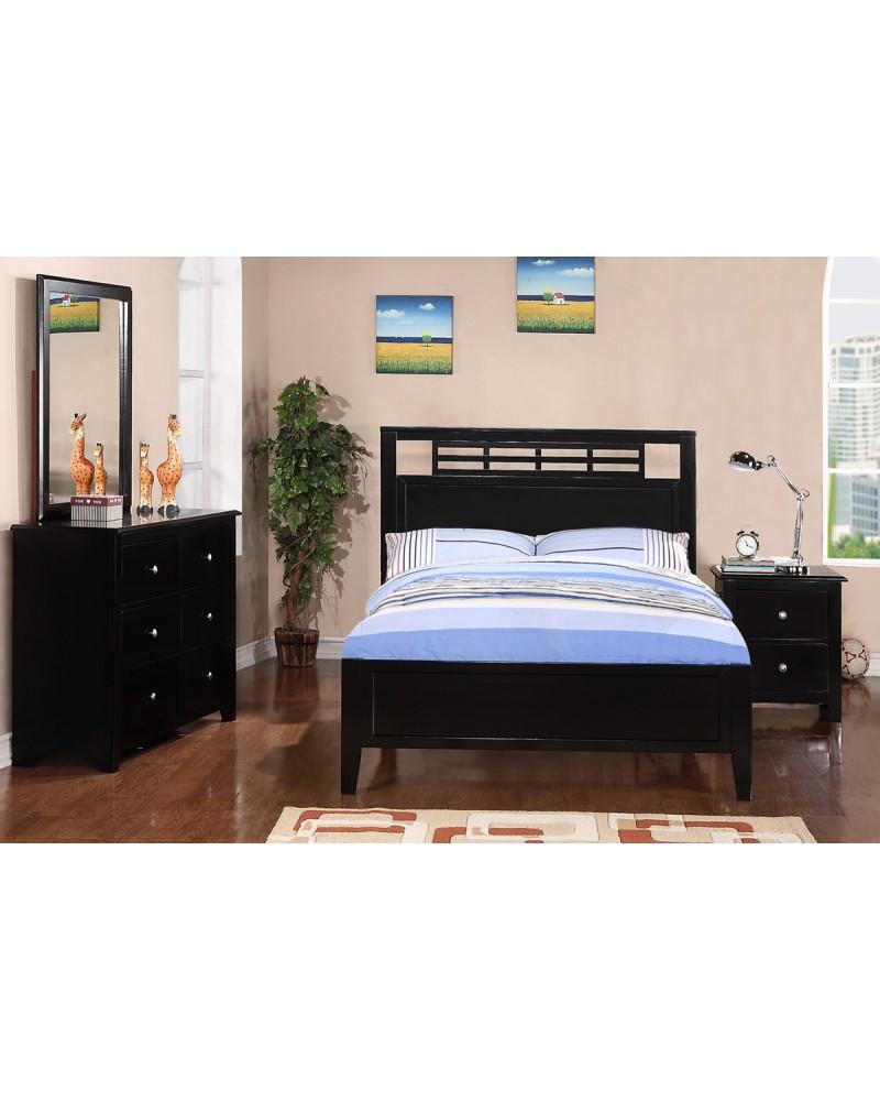 F9084 Black Wood Bed Set